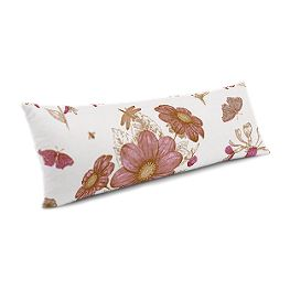 Sketched Pink Floral Large Lumbar Pillow