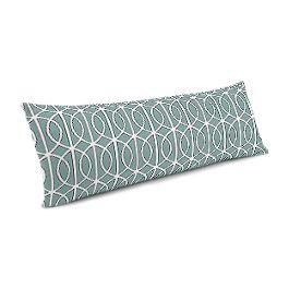 Modern Teal Trellis Large Lumbar Pillow