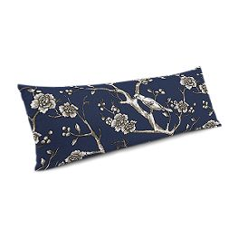 Navy Blue Floral & Bird Large Lumbar Pillow