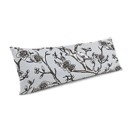 Gray Floral & Bird Large Lumbar Pillow