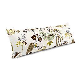 Green & Brown Botanical Large Lumbar Pillow