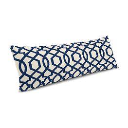 Flocked Blue Trellis Large Lumbar Pillow