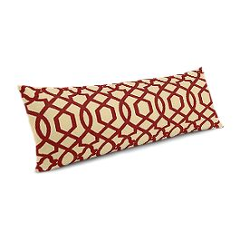 Flocked Tan & Red Trellis Large Lumbar Pillow