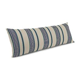 Gray, Teal & Blue Stripe Large Lumbar Pillow