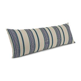 Gray, Teal & Blue Stripe Large Lumbar Pillow
