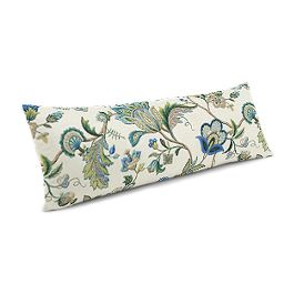 Jacobean Blue Floral Large Lumbar Pillow