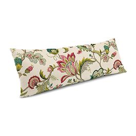 Teal & Pink Floral Large Lumbar Pillow