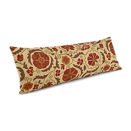 Beige & Red Suzani Large Lumbar Pillow