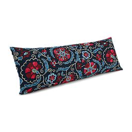 Red & Navy Blue Suzani Large Lumbar Pillow