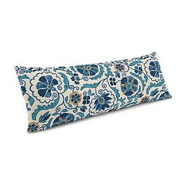 Beige & Blue Suzani Large Lumbar Pillow