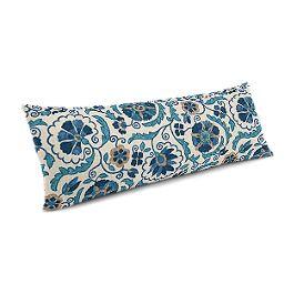 Beige & Blue Suzani Large Lumbar Pillow