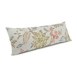 Delicate Aqua Blue Floral Large Lumbar Pillow
