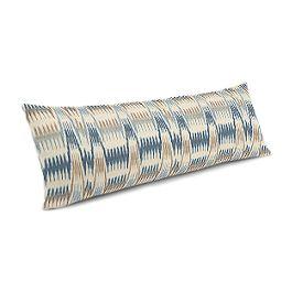 Tan & Blue Flame Stitch Large Lumbar Pillow
