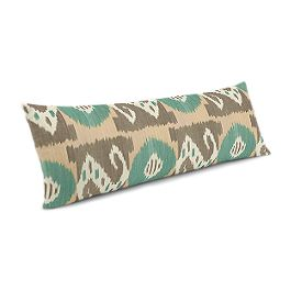 Handwoven Tan & Teal Ikat Large Lumbar Pillow