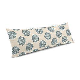 Blue Medallion Block Print Large Lumbar Pillow