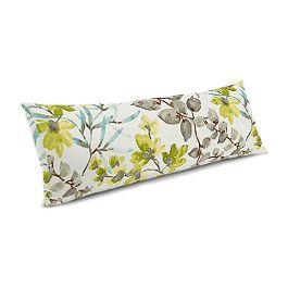 Aqua Blue Watercolor Floral Large Lumbar Pillow