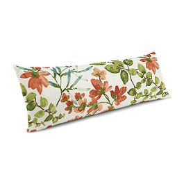 Coral Watercolor Floral Large Lumbar Pillow