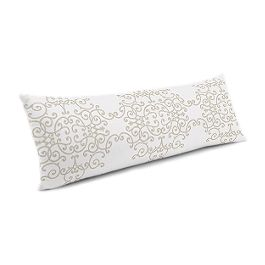 Light Tan & White Scroll Large Lumbar Pillow