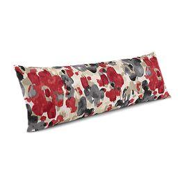 Gray & Red Watercolor Large Lumbar Pillow