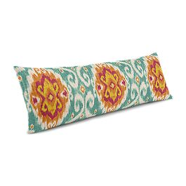 Turquoise & Red Ikat Medallion Large Lumbar Pillow
