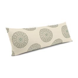 Aqua Medallion Block Print Large Lumbar Pillow