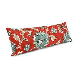 Aqua & Red Floral Large Lumbar Pillow