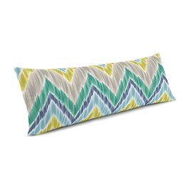 Gray, Green & Blue Chevron Large Lumbar Pillow