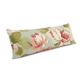 Aqua & Pink Rose Large Lumbar Pillow