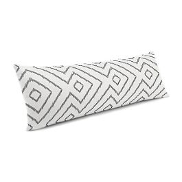 White & Gray Diamond Large Lumbar Pillow