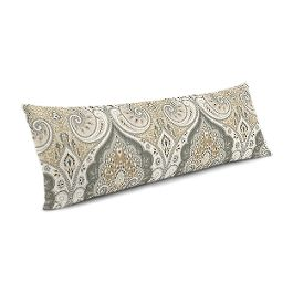 Gray & Tan Paisley Large Lumbar Pillow