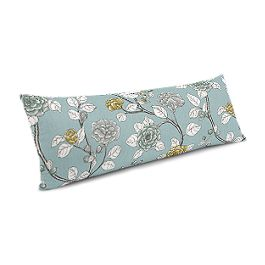 Modern Aqua Floral Large Lumbar Pillow