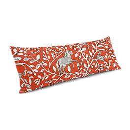 Red Animal Motif Large Lumbar Pillow
