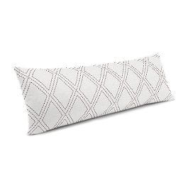 Embroidered Gray Diamond Large Lumbar Pillow