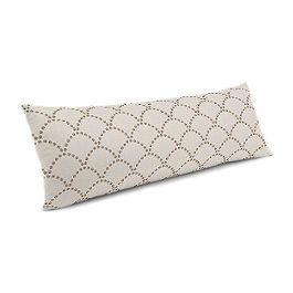 Embroidered Taupe Scallop Large Lumbar Pillow