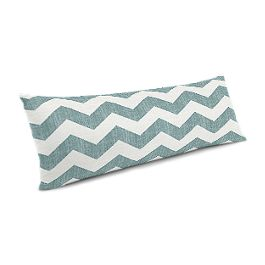 White & Blue Chevron Large Lumbar Pillow