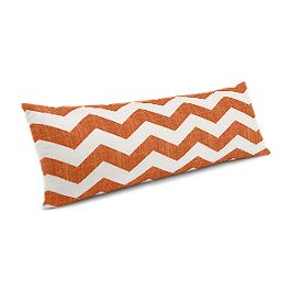 White & Orange Chevron Large Lumbar Pillow