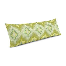 Aqua & Green Flame Stitch Large Lumbar Pillow