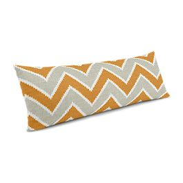 Tan & Orange Chevron  Large Lumbar Pillow