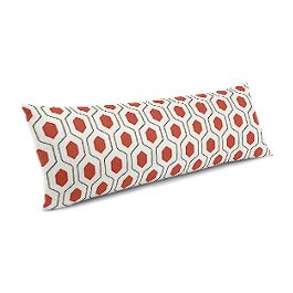 Gray & Red Hexagon Large Lumbar Pillow
