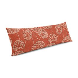 Coral Red Fan Leaf Large Lumbar Pillow