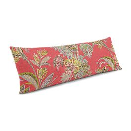 Intricate Pink Floral Large Lumbar Pillow