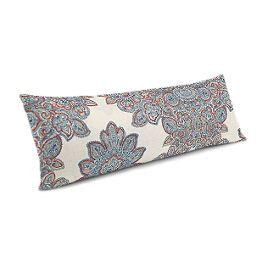 Coral & Blue Paisley Damask Large Lumbar Pillow