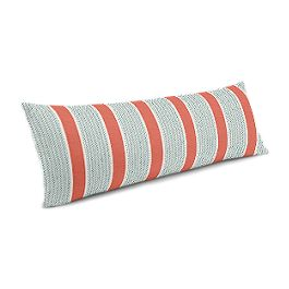 Aqua & Coral Pink Stripe Large Lumbar Pillow