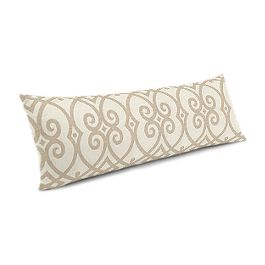 Tan Scroll Trellis Large Lumbar Pillow