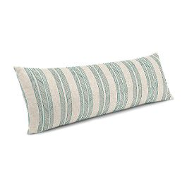Embroidered Aqua Stripe Large Lumbar Pillow