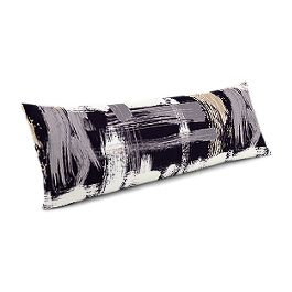 Black & White Brushstrokes Large Lumbar Pillow