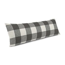 Gray & White Buffalo Check Large Lumbar Pillow