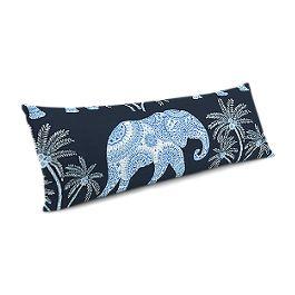 Navy Blue Elephant Large Lumbar Pillow