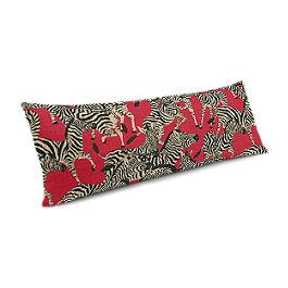Black, White & Red Zebra Large Lumbar Pillow