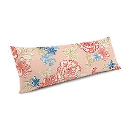 Coral & Blue Floral Large Lumbar Pillow